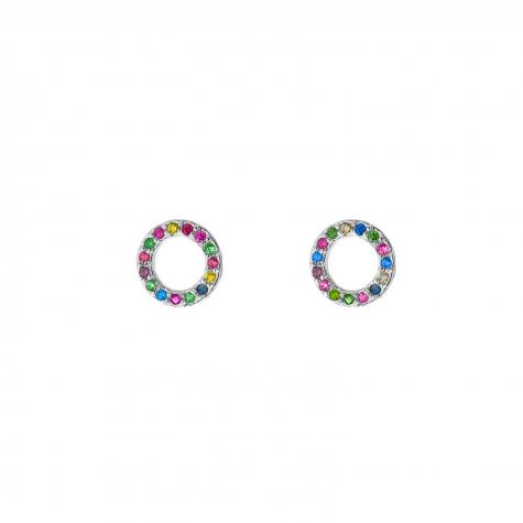 Zilveren ronde oorbellen met gekleurde steentjes