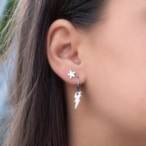 Zilveren oorbellen met bliksemschicht