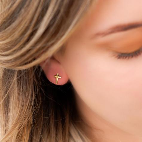 Stud oorbellen kruisje goud kleurig