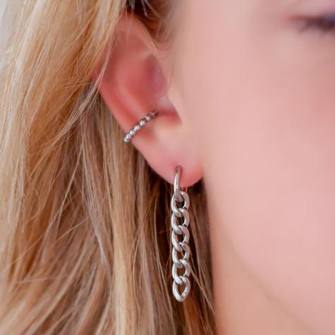 Oorringetjes met smalle lange chain zilver