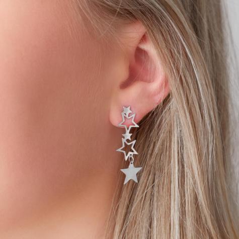 Statement ster oorbellen zilver