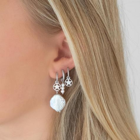 Open ster oorbellen zilver