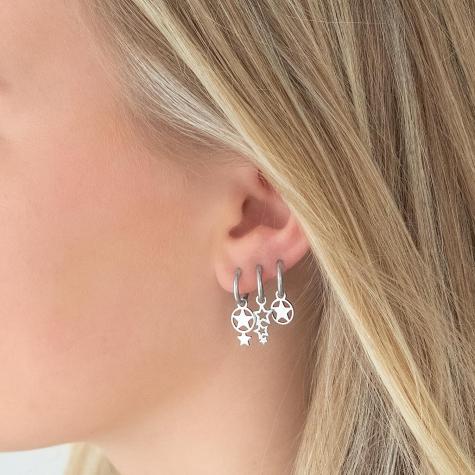 Dubbele ster oorbellen zilver