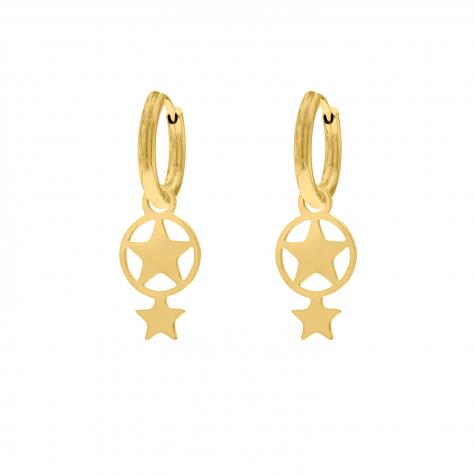 Dubbele ster oorbellen goud