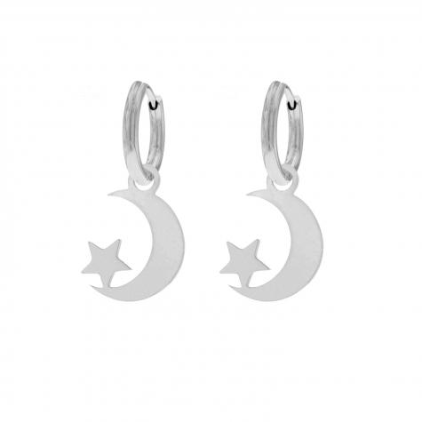 Maan & ster oorbellen zilver
