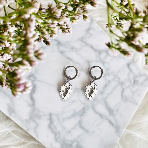 Hanger oorbellen sterretjes zilver