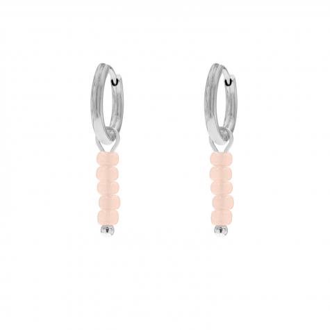 Oorringetjes roze steentjes zilver