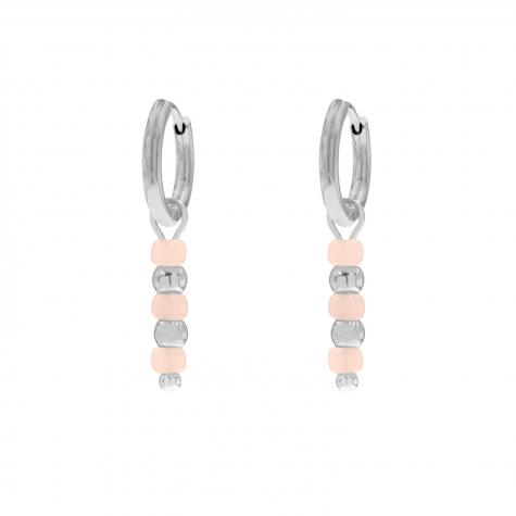 Zilveren oorbellen met roze steentjes