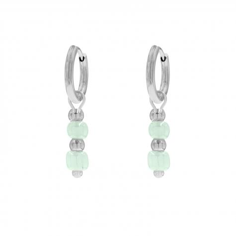 Zilveren oorbellen met mint groene steentjes