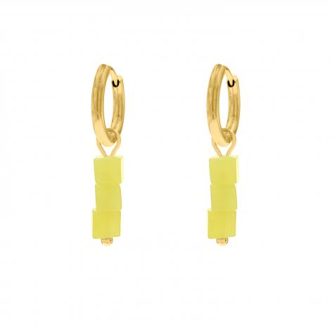 Oorbellen gele steentjes goudkleurig