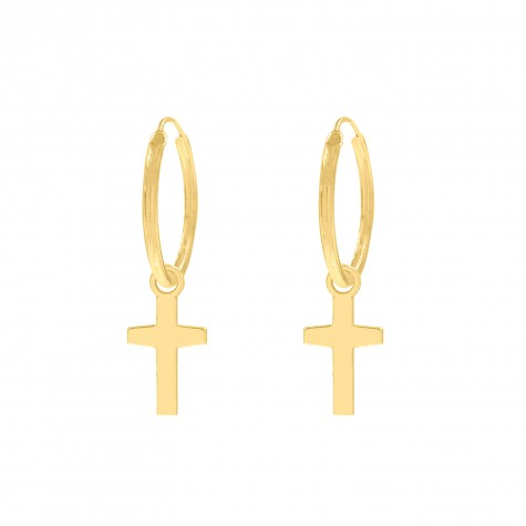Hanger oorbellen kruisje goud kleurig