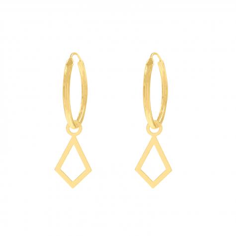 Ruitjes oorbellen goud kleurig