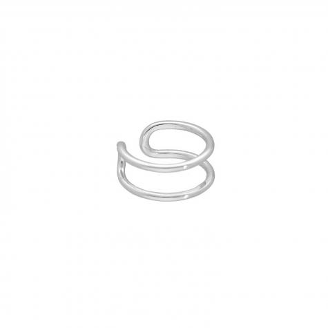 Ear cuff dubbel kleur zilver