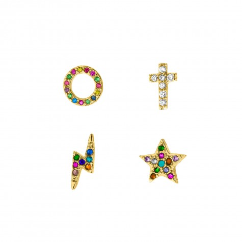 Gouden regenboog stud oorbellen set