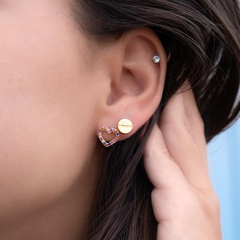 Gouden oorbellen set met hartje en finaste oorknopje