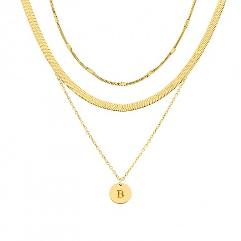 Minimalistische necklace layer set kleur goud