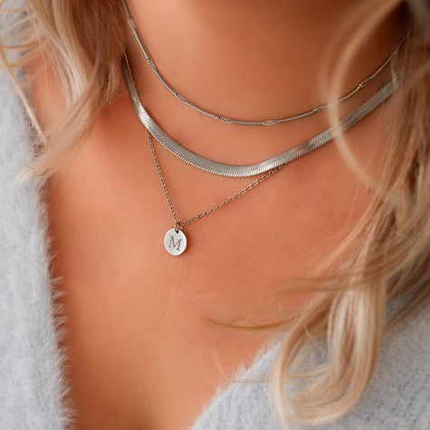 Minimalistische necklace layer set kleur zilver