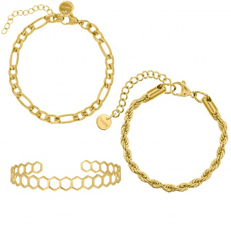 Chain Armbanden Set Kleur Goud