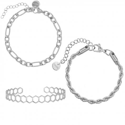 Chain Armbanden Set Kleur Zilver