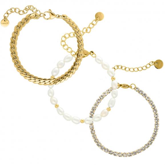 Armparty chain & pearl goud kleurig