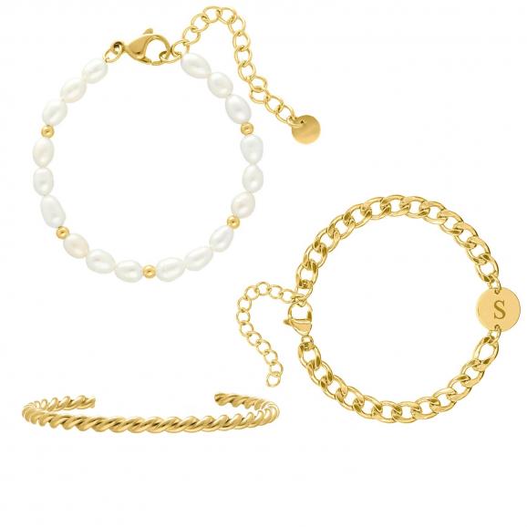 Armbanden set chunky initial kleur goud