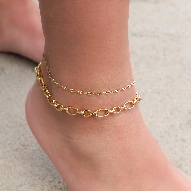Gouden enkelbandjes met schakeltjes