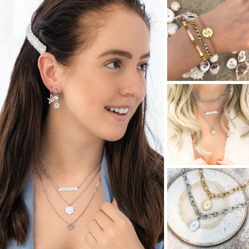verschillende graveerbare sieraden van finaste gemixt