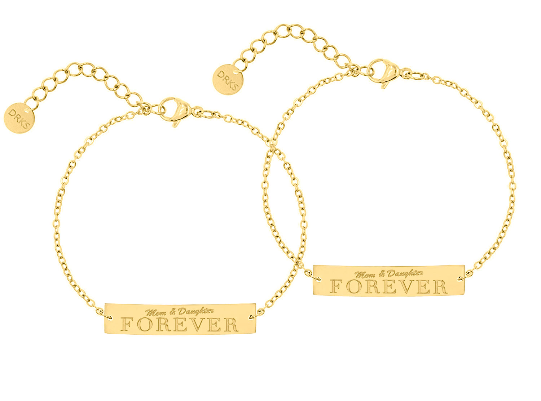 Mom & daughter forever armband goud kleurig