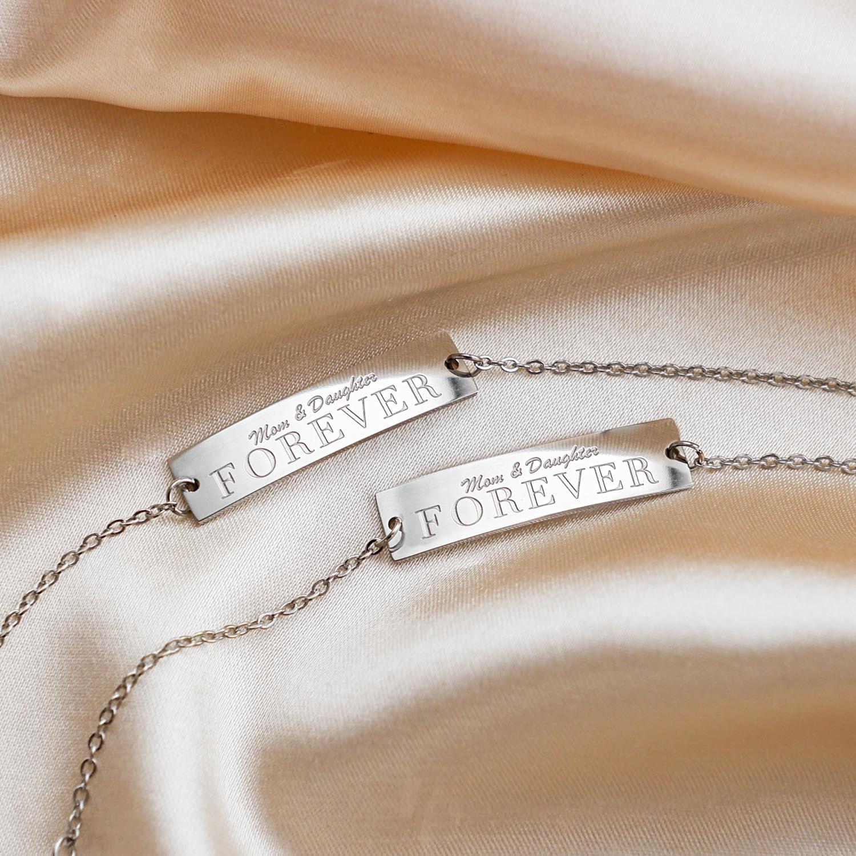 Zilveren moeder & dochter armbanden set