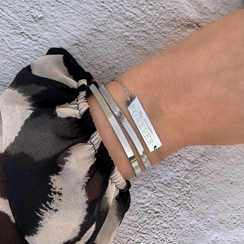 Mom & daughter forever armband zilver om pols