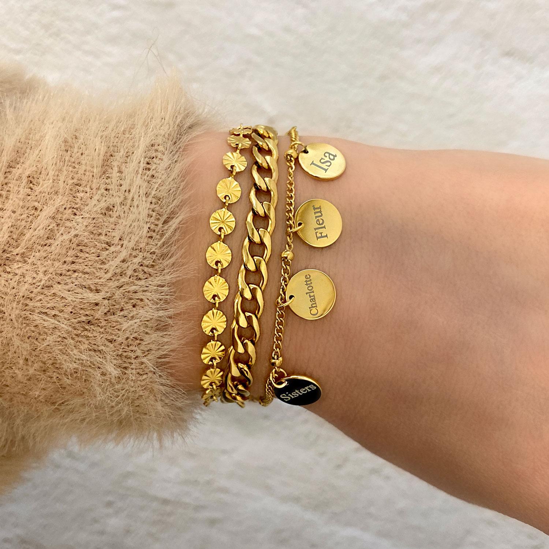 Gouden schakelarmbandjes gecombineerd met graveerbaar armbandje