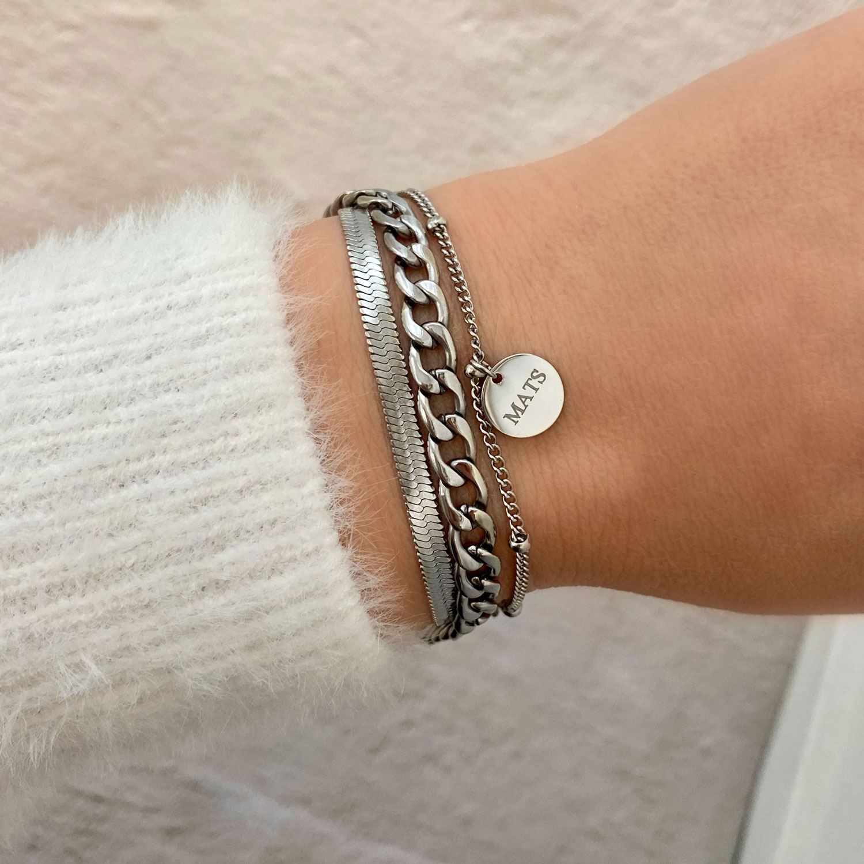 Graveerbare armband gecombineerd dubbele schakelarmband