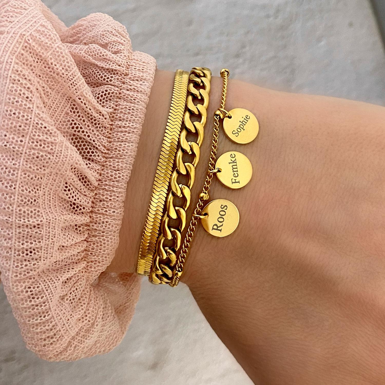 Gouden dubbele schakelarmband met graveerbare armband