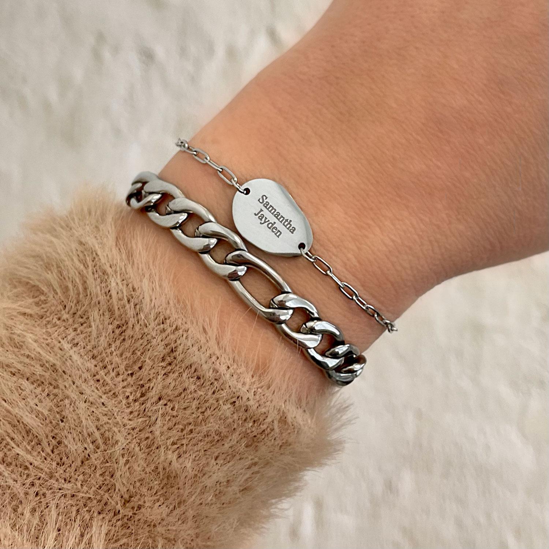 Zilveren armbanden mix om pols