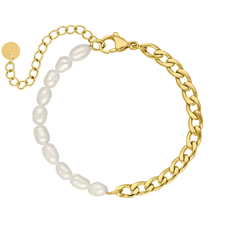 Armband Chain & Pearl goud kleurig