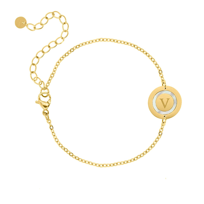Initial armband parelmoer kleur goud