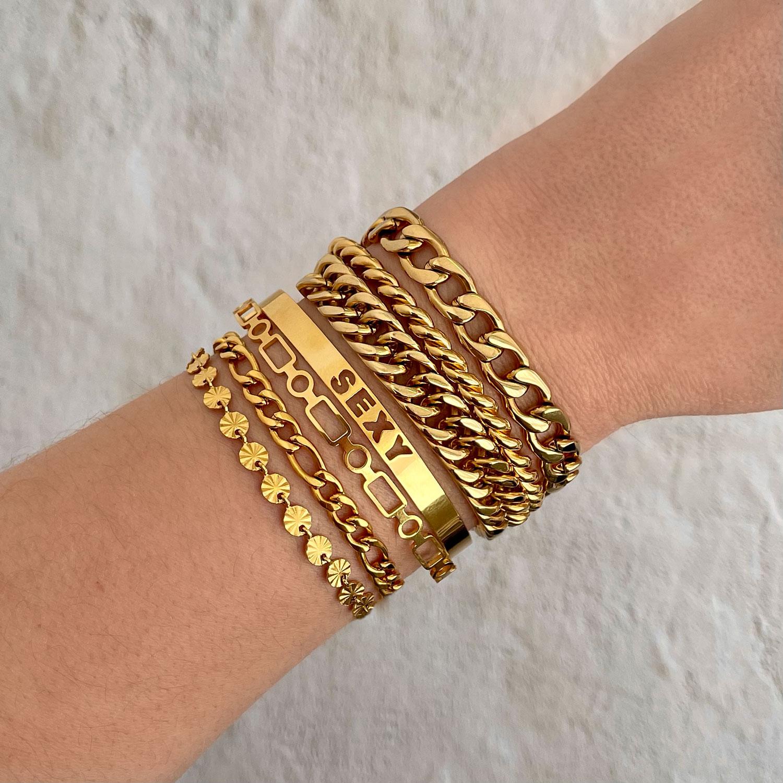 Armbanden party mix in het goud