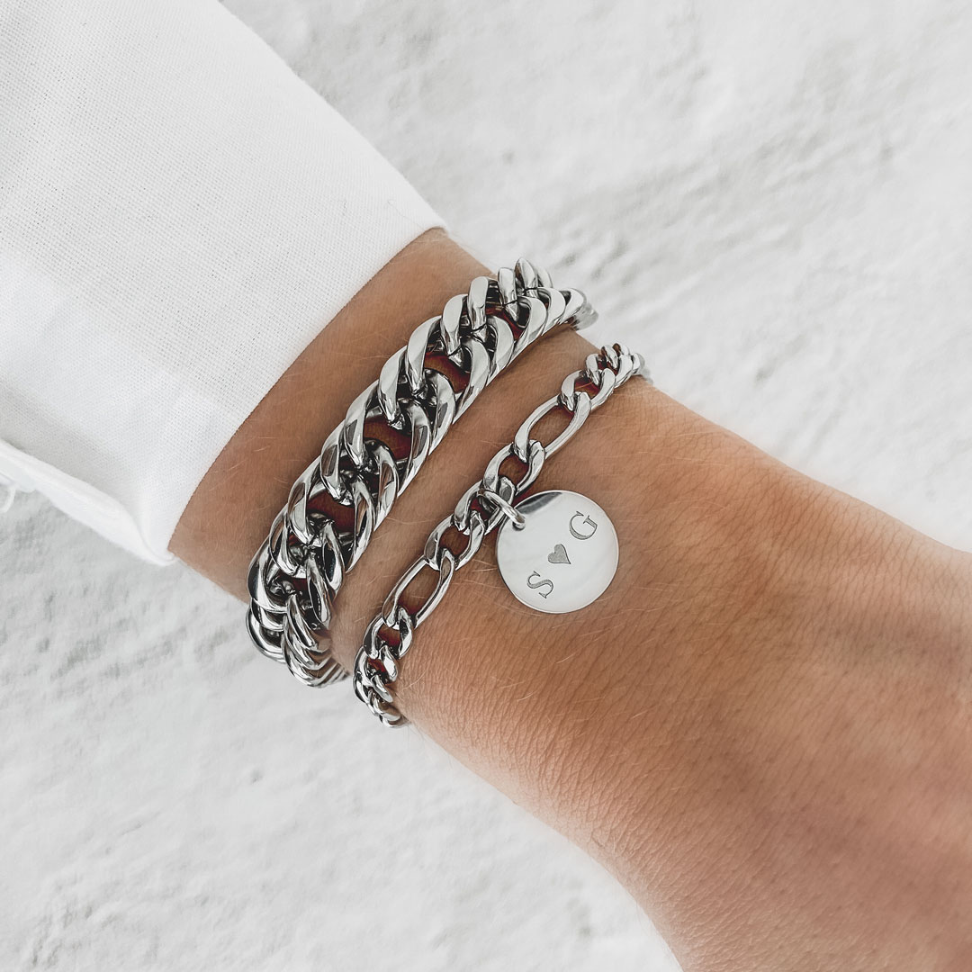 Zilveren chunky armband en graveerbare mixed chain armband