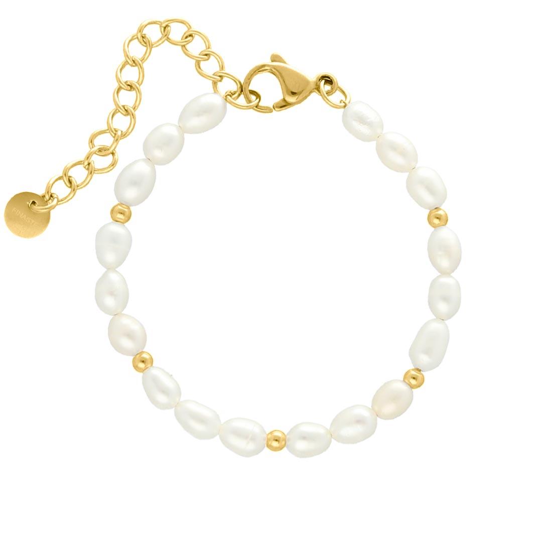 Parel armband bolletjes goud kleurig