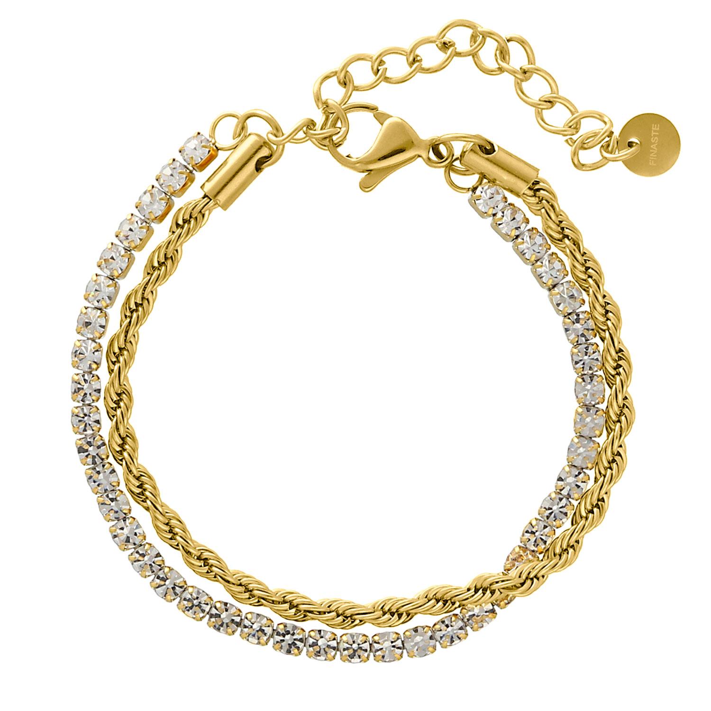 Dubbele chain & tennis armband goud kleurig