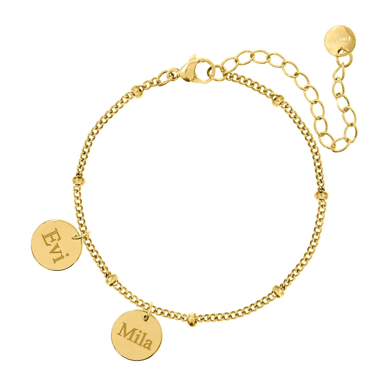 Gepersonaliseerde armband 2 muntjes goud kleurig