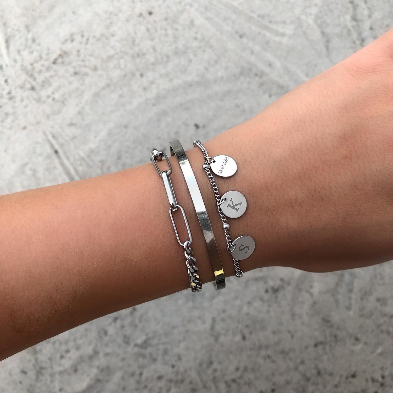 Graveerbare armband 3 muntjes