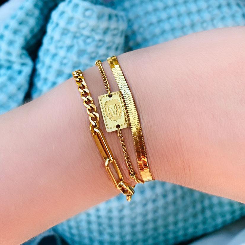 Trendy armband met een leeuw om de pols