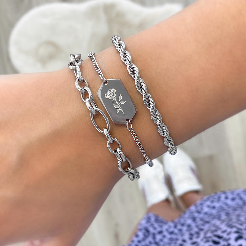 zilveren armband kopen trendy om de pols