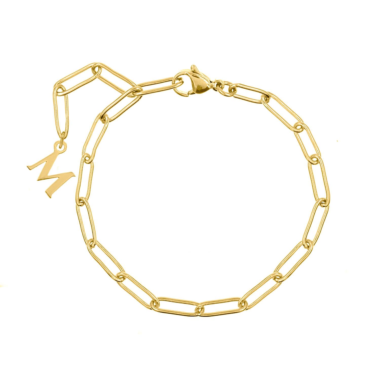 Chain armband met letter goud kleurig
