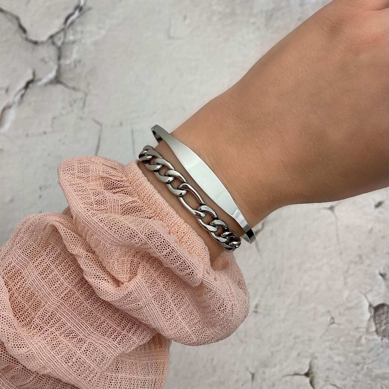 zilveren armparty met minimalistische bangle