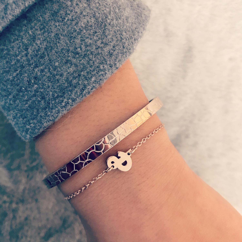 & armband in rose goud gecombineerd met bangle