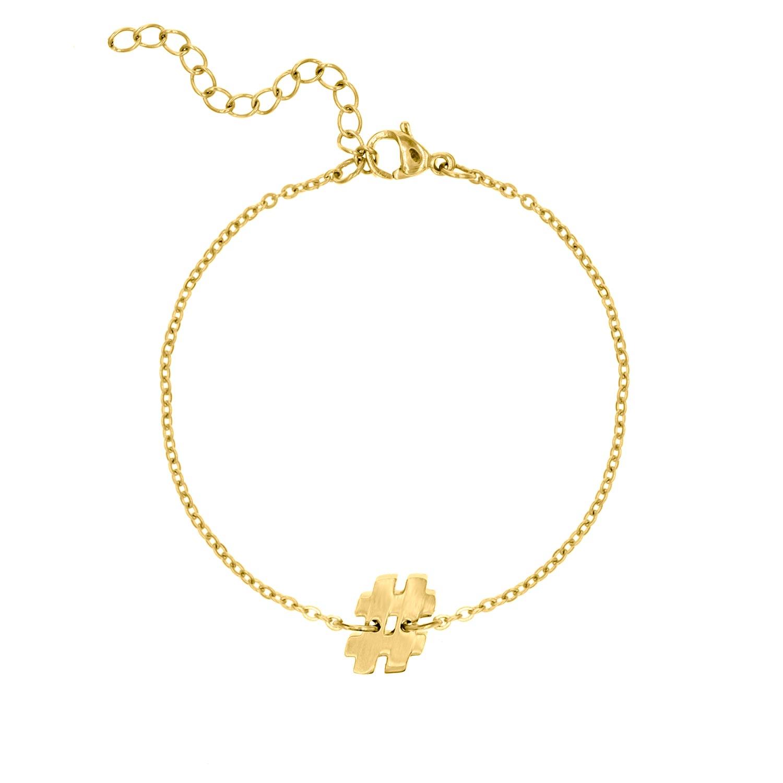 Gouden armband met hashtag teken