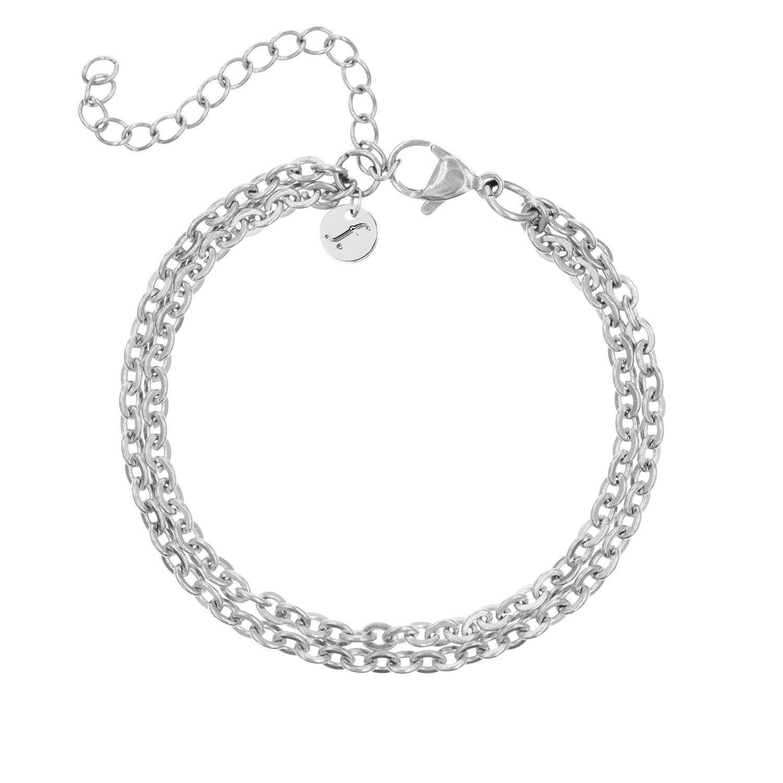 Zilveren schakelarmband met dubbele ketting