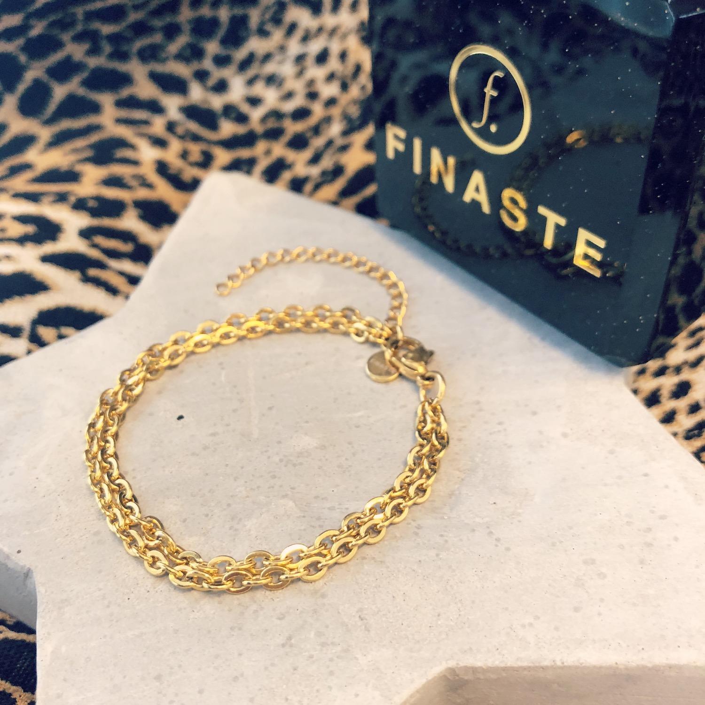 Dubbele gouden armband met schakels van finaste